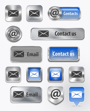 write us: Collection of ContactMailEmail metallic and glossy elements for web interface.