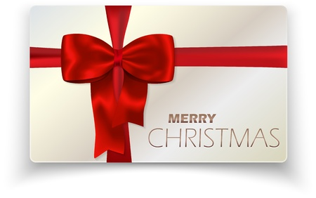 Contemporary solid Merry Christmas card with red bow and red ribbon.  Vector