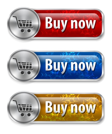 buy now: Metallic and glossy web elementsbuttons with snowflakes background for online shopping.  Illustration
