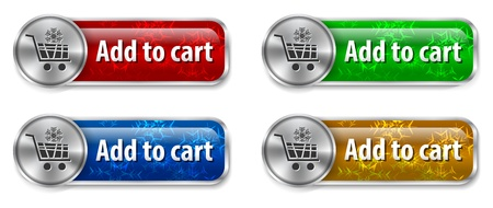 add to cart: Metallic and glossy web elementsbuttons with snowflake background for online shopping.  Illustration