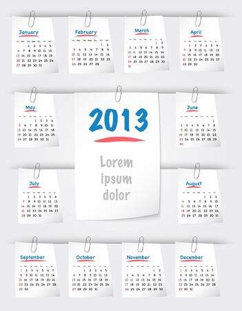 attached: Calendar for 2013 year on sticky notes attached to the background with paper clips. Sundays first.  Illustration