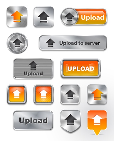 interface elements: Collection of Upload metallic and glossy buttons.