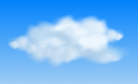 Realistic clouds in the blue sky.  Vector