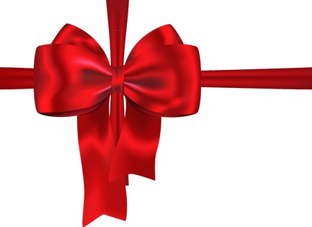 Red gift ribbon with luxurious bow isolated on white background.