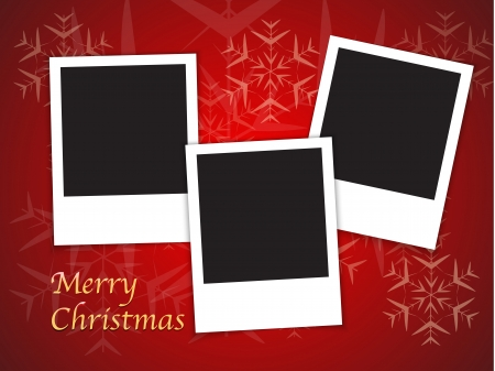 Merry Christmas card templates with blank photo frames on red background.  Illustration