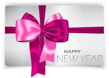 pink satin: Happy New Year card with luxurious pink ribbon and bow