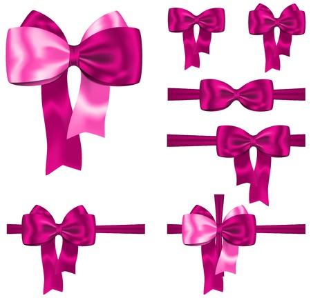 moño rosa: Cinta de regalo rosa set y arco para las decoraciones en el fondo blanco Vectores