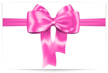 pink satin: Beautiful pink bow with ribbon  Gift card   Illustration