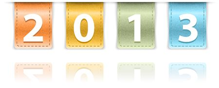 inset: 2013 digits on colorful leather background insets. Vector illustration Illustration