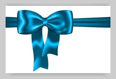 Gift card with blue ribbon and bow. Vector illustration Stock Vector - 16235883
