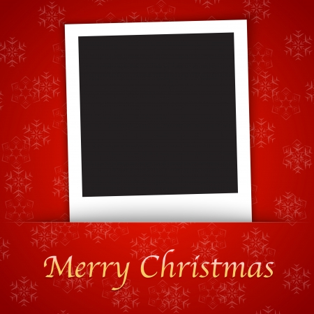 Merry Christmas card template with blank photo frame on the red background. Vector illustration
