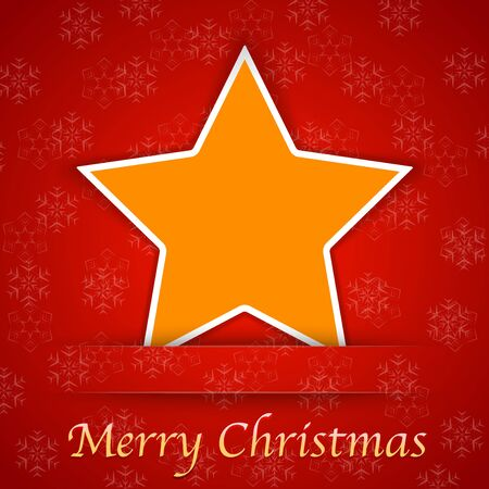 Merry Christmas gift card with a simple star placed on red background. Vector illustration Stock Vector - 16235890
