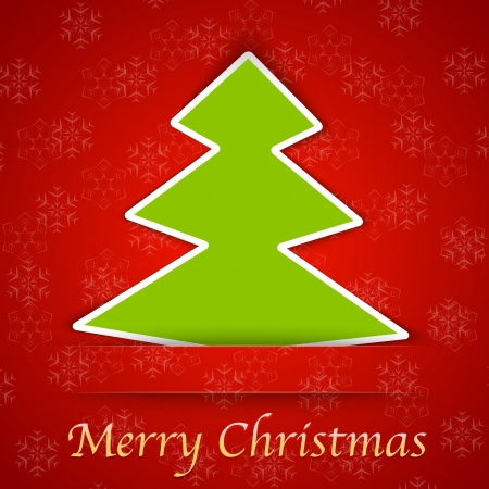 Merry Christmas gift card with a simple Christmas tree placed on red background. Vector illustration Stock Vector - 16235891