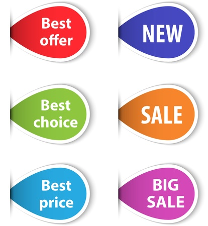 Set of colorful sticky labels for shopping. Vector illustration Illustration