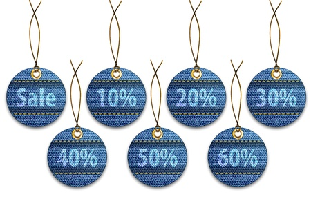 jeans texture: Shopping labels made of jeans. Price tags like Christmas balls
