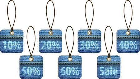 Shopping labels made of jeans. Square price tags Stock Vector - 16326407