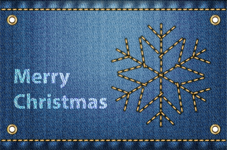 Merry Christmas greetings on blue jeans background. Vector illustration Stock Vector - 16326515
