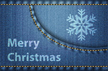 Merry Christmas greetings on blue jeans background. Vector illustration Stock Vector - 16326516