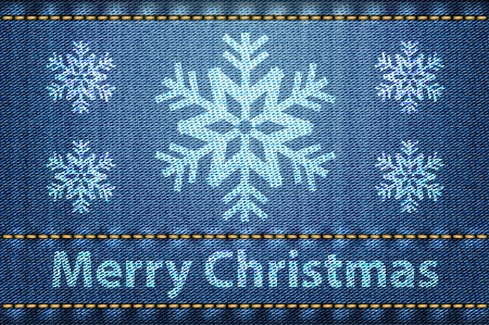 Merry Christmas greetings on blue jeans background. Vector illustration Illustration