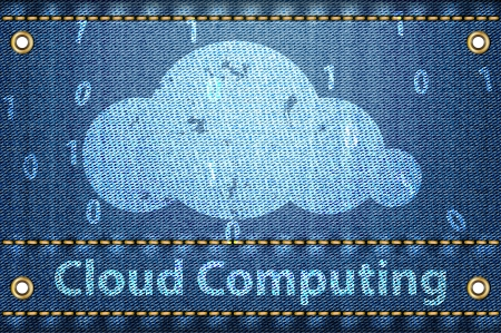 Cloud with Cloud computing words on blue jeans texture. Cloud computing concept. Vector illustration Stock Vector - 16326506