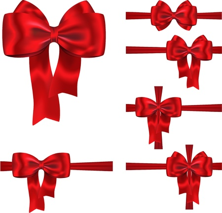 Set of red ribbons with luxurious bows for decorating gifts and cards Illustration