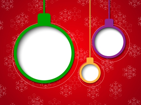 blank area: Christmas bubbles on red snowflake background. Vector illustration