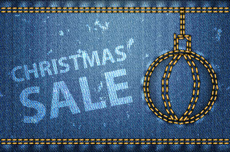 Christmas sale words on blue jeans background. Vector illustration Vector