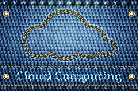 Cloud with Cloud computing words on blue jeans texture. Cloud computing concept. Vector illustration Stock Vector - 16326501