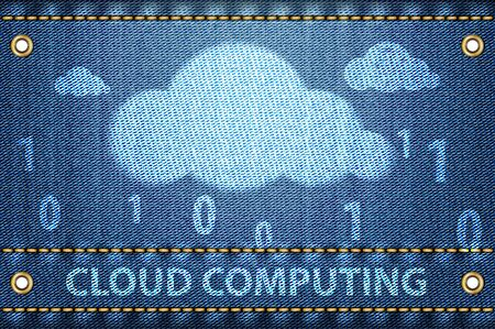 Cloud with Cloud computing words on blue jeans texture. Cloud computing concept. Vector illustration Stock Vector - 16326503