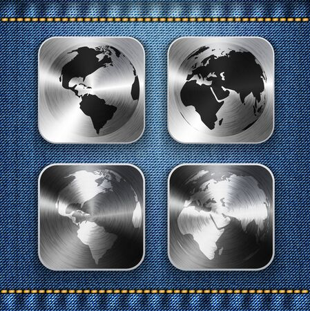 Globe and world map on brushed metal app icons. Vector illustration Vector