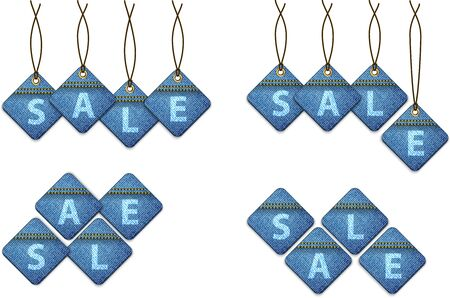 Set of sale shopping labels made of jeans. Vector illustration Stock Vector - 16423766