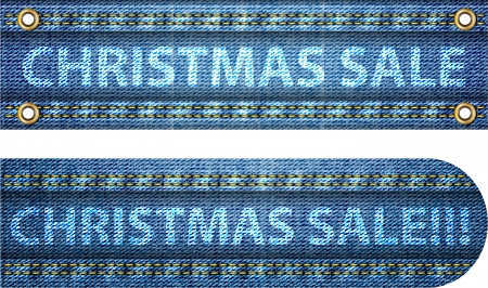 Christmas sale words on blue jeans background. Vector illustration Stock Vector - 16423755