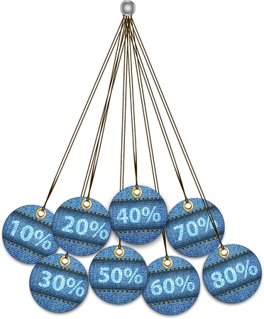 Sale labels made of jeans. Tags like Christmas balls. Vector illustration Stock Vector - 16423757