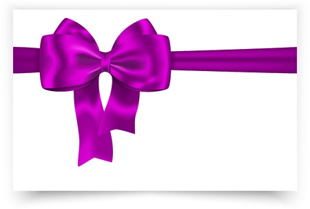 White gift card with violet ribbon and bow. Vector illustration