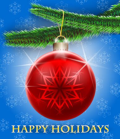 Holiday greetings card with Christmas tree and a bauble hanging on snowflake background  Merry Christmas  Vector illustration Stock Vector - 16423758