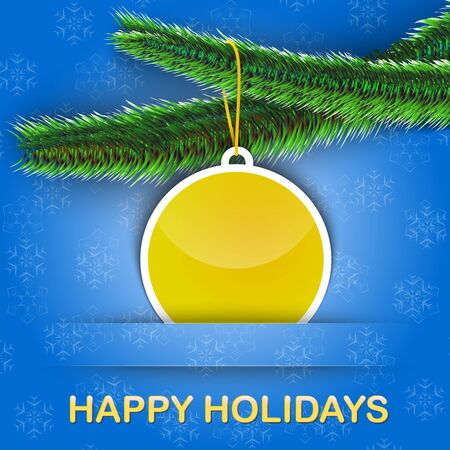 Holiday greetings card with Christmas tree and a bauble hanging on snowflake background. Vector illustration Stock Vector - 16423762