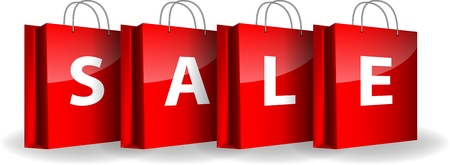 Red shopping bags with the word Sale Vector