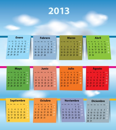 Spanish calendar for 2013 like laundry on the clothline. Mondays first Vector