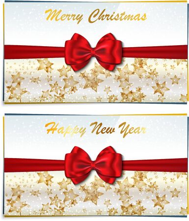 congratulating: Two luxury greeting cards congratulating winter holidays  Merry Christmas and Happy New Year letterings  Vector illustration