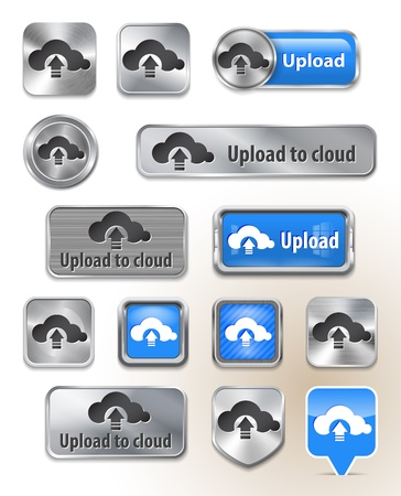 Collection of Upload to cloud metallic and glossy buttons for web interface. Vector illustration Vector