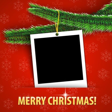 Merry Christmas greeting card with blank photo frame hanging on shiny Christmas tree. Vector illustration Stock Vector - 16589537