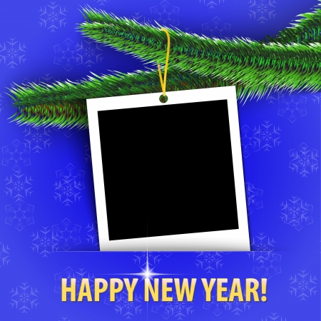 Happy New Year! greeting card with blank photo frame hanging on shiny Christmas tree. Vector illustration Stock Vector - 16589538