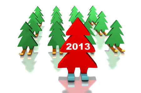 distinguish: Green Christmas trees skiing with the red leader. 2013 on the leader. Abstract illustration Stock Photo