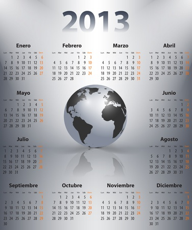 mondays: Calendar for 2013 year in Spanish with the world globe in spotlights. Mondays first. Vector illustration