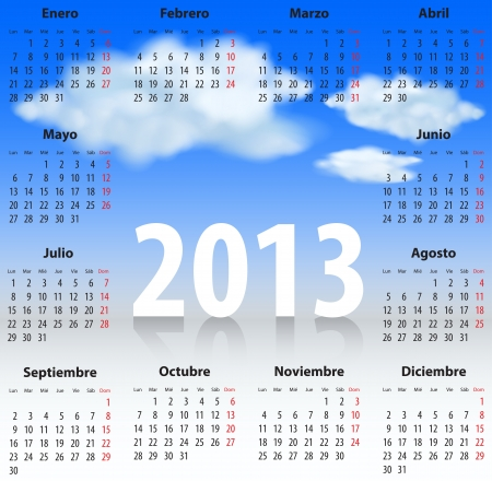 Calendar for 2013 year in Spanish with clouds in the blue sky.   Stock Vector - 16755668