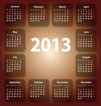stickies: Calendar for 2013 on colorful stickies.  Illustration