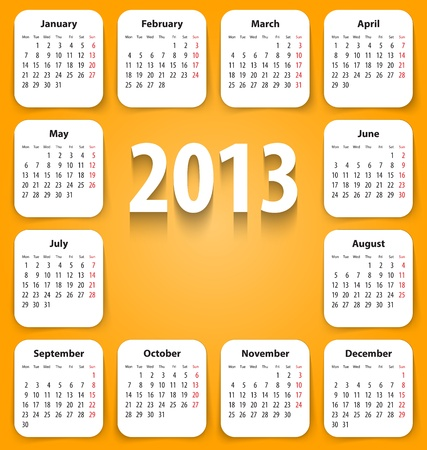 stickies: Calendar for 2013 on white stickies.