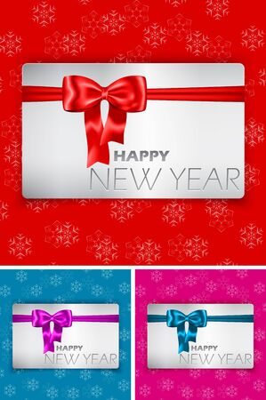 Happy New Year card with bow and ribbon on snowflake background illustration Stock Vector - 16802473