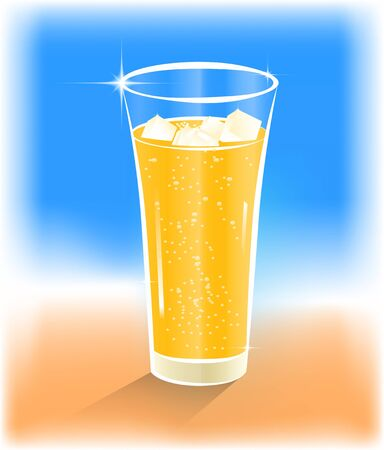illustration of a glass of orange juice with ice Stock Vector - 16802471