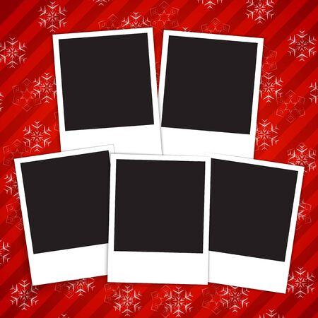 Winter holidays card with blank frames on red  snowy background  illustration Stock Vector - 16802469